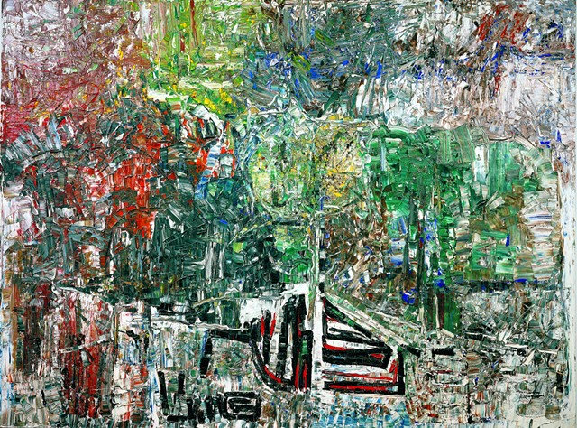 """""""L'étang—Hommage à Grey Owl"""" by Jean Paul Riopelle - COURTESY OF MMFA"""