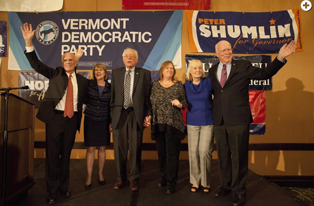 Congressman Peter Welch (left) joins Sen. Bernie Sanders (center) and Sen. Patrick Leahy (right) and their wives at an election night gathering in 2014. - MATTHEW THORSEN