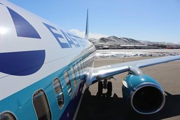 Sanders' chartered jet in Elko, Nevada - PAUL HEINTZ
