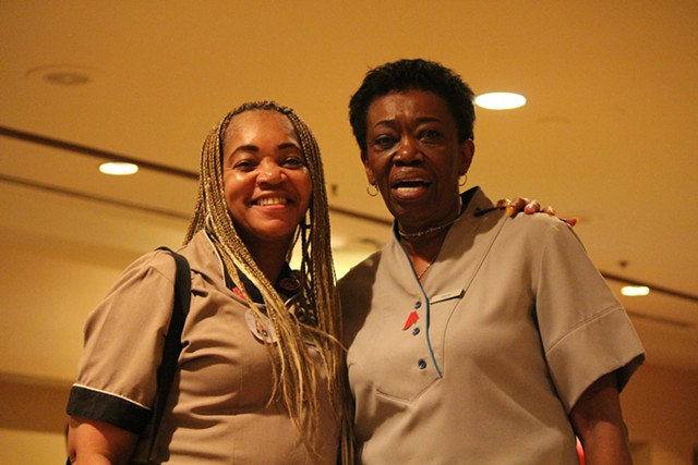 Vivian Gray and Joyce Lewis were undecided until the last minute Saturday at the Nevada caucuses. - PAUL HEINTZ