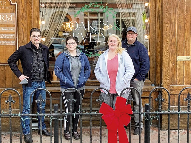 From right: Justin Dain, Amanda Champagne, Emily Chism and James Ives of Oakes & Evelyn in Montpelier - COURTESY OAKES & EVELYN