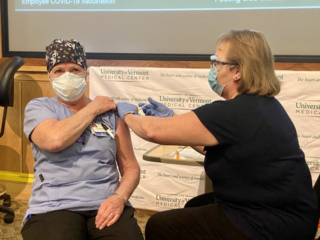 Cindy Wamsganz becomes the first to receive a COVID-19 vaccine in Vermont - COURTESY OF UVM HEALTH NETWORK