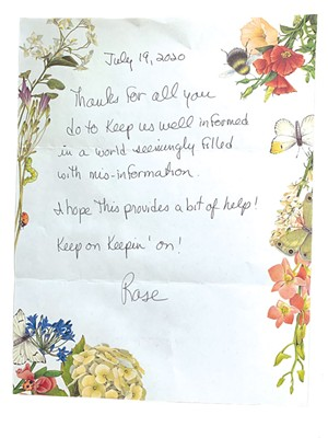 A note from a Super Reader - COURTESY