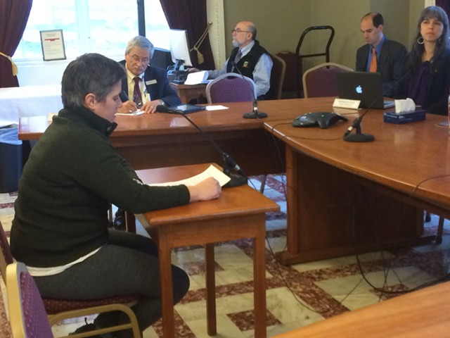Sue Bette, owner of Bluebird Barbecue, testifies in support of a bill that would prohibit employers from requiring a job applicant to disclose a criminal record. - NANCY REMSEN
