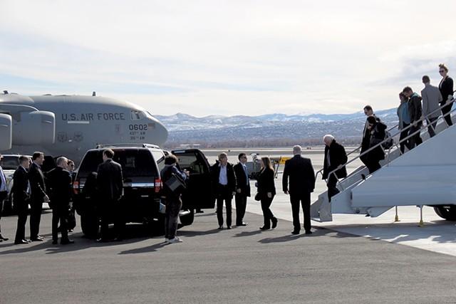 Sen. Sanders deplanes in Reno, Nev.