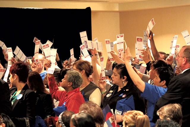 Clinton supporters at a Las Vegas caucus - PAUL HEINTZ