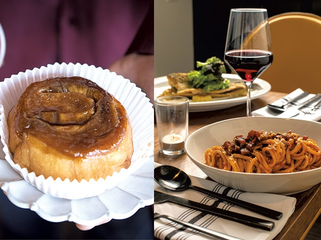 From top: Latte and cinnamon bun at Haymaker Bun; bucatini Amatriciana at the Arcadian - CALEB KENNA