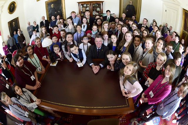 Good Citizens with Gov. Phil Scott at the Statehouse in March, 2019. - JEB WALLACE-BRODEUR