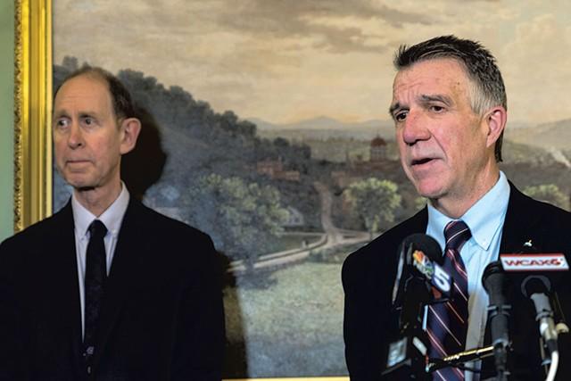 Health Commissioner Mark Levine (left) and Gov. Phil Scott - FILE: COLIN FLANDERS ©️ SEVEN DAYS