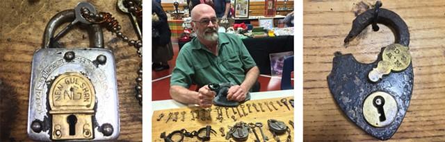 "Left to right: ""Trick"" lock from the collection of Bill Thorneloe; Bill Thorneloe with his locks and keys; heart-shaped padlock from Thorneloe collection - RACHEL ELIZABETH JONES"