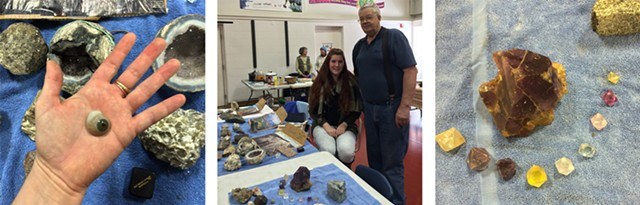 Left to right: glass eye from the collection of Peter Martin; Peter Martin with granddaughter Gina Zola; fluorite crystals from the collection of Peter Martin - RACHEL ELIZABETH JONES