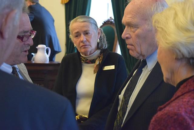Sens. (from left) Michael Sirotkin, Alice Nitka, Dick Sears and Jane Kitchel discuss a marijuana legalization amendment during a break from the Senate debate Thursday. - TERRI HALLENBECK