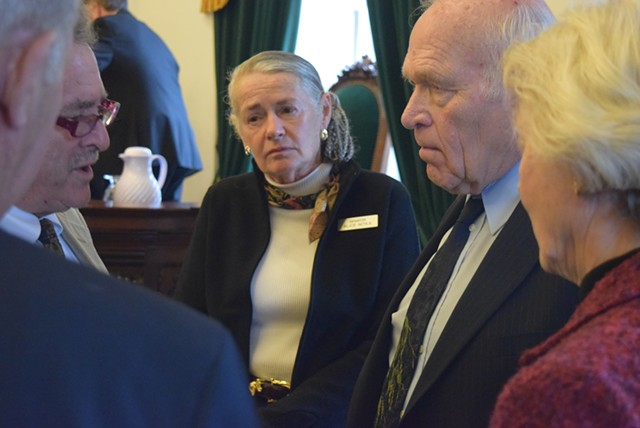 Sens. (from left) Michael Sirotkin, Alice Nitka, Dick Sears and Jane Kitchel discuss a marijuana legalization amendment during a break from the Senate debate Thursday. - TERRI HALLENBECK