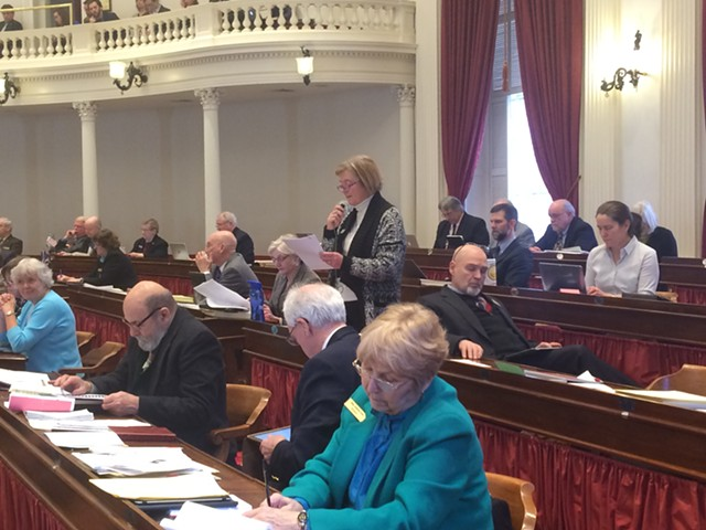 Rep. Mary Sullivan (D-Burlington), lead sponsor of a  resolution calling for pension funds to divest fossil fuel stocks, addresses the House. - NANCY REMSEN