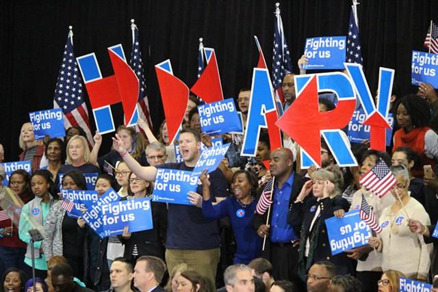 Clinton supporters Saturday night in Columbia, S.C. - PAUL HEINTZ