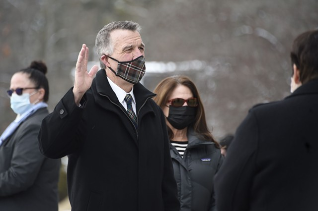 Gov. Phil Scott taking the oath of office - JEB WALLACE-BRODEUR