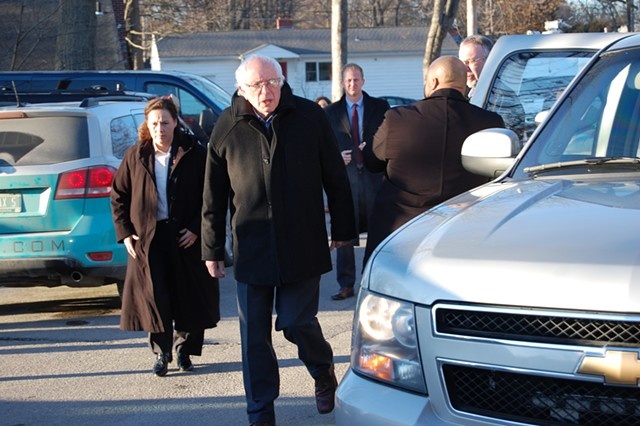 Sanders arriving at the polling station. - MATTHEW ROY