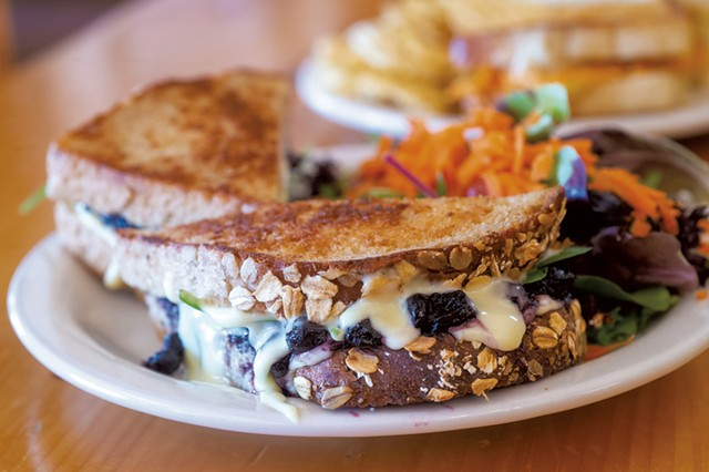 Sandwich of balsamic blueberries, spinach and brie from Round Hearth Café - JEB WALLACE-BRODEUR