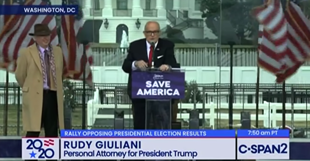 Rudy Giuliani speaking to attendees at the Stop the Steal Rally last Wednesday - YOUTUBE/C-SPAN2