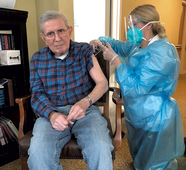 The Arbors at Shelburne resident Ron Renaud gets vaccinated on January 8 - COURTESY OF THE ARBORS AT SHELBURNE