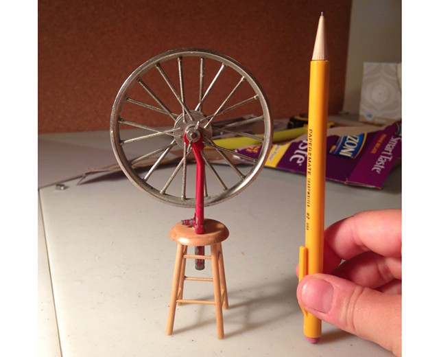 "Miniature of Marcel Duchamp's ""Bicycle Wheel"" readymade by Andrea Rosen - COURTESY OF ANDREA ROSEN"