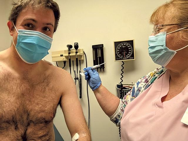 Joshua Schupp-Star getting vaccinated - COURTESY