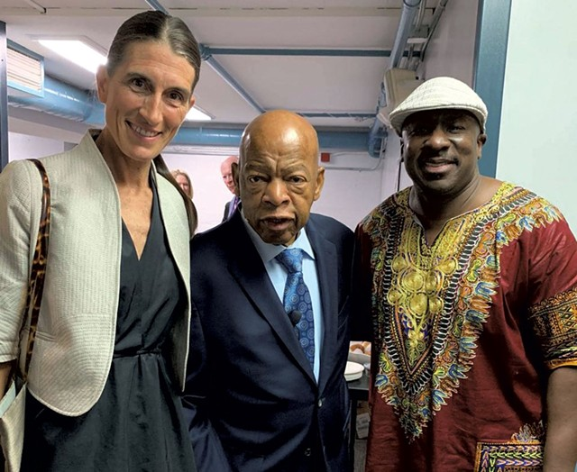 Clare Wool (left) and Noel Green (right) with late U.S. representative and civil rights icon John Lewis in 2019 - COURTESY OF CLARE WOOL