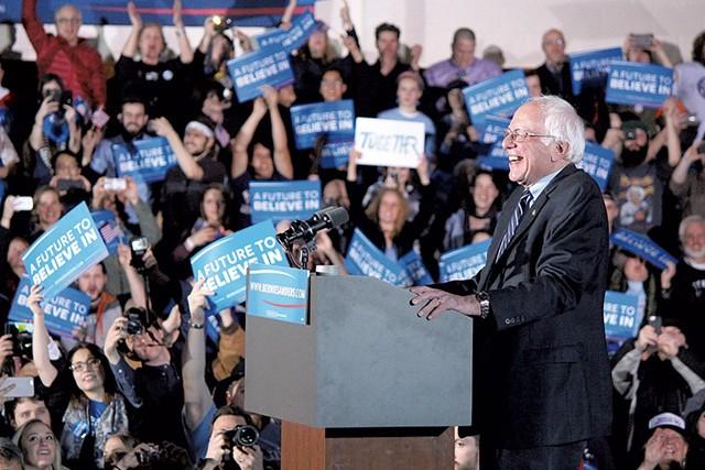 Sen. Bernie Sanders celebrating his win in New Hampshire last month. - FILE: PAUL HEINTZ