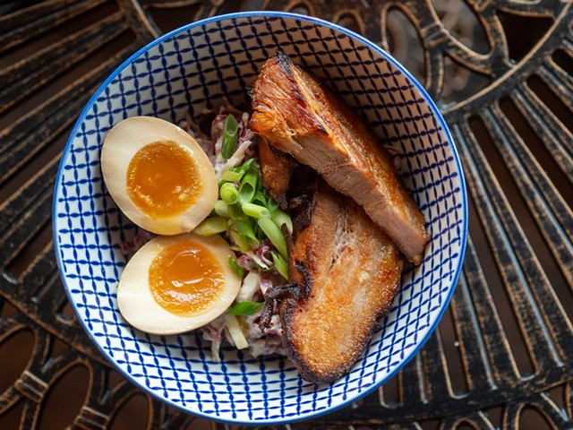 Eggs n' Bacon appetizer at Stoke Ramen - JEB WALLACE-BRODEUR