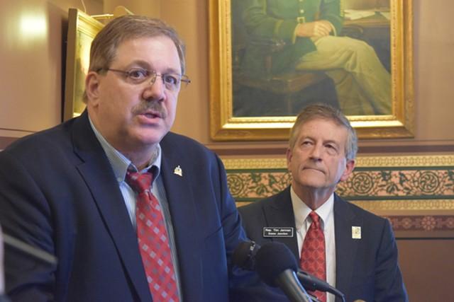 Secretary of State Jim Condos, left, and Vermont Democratic Party vice chair Tim Jerman - TERRI HALLENBECK