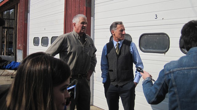 Ron Pembroke, left, and Gov. Peter Shumlin discussing the water contamination - NANCY REMSEN