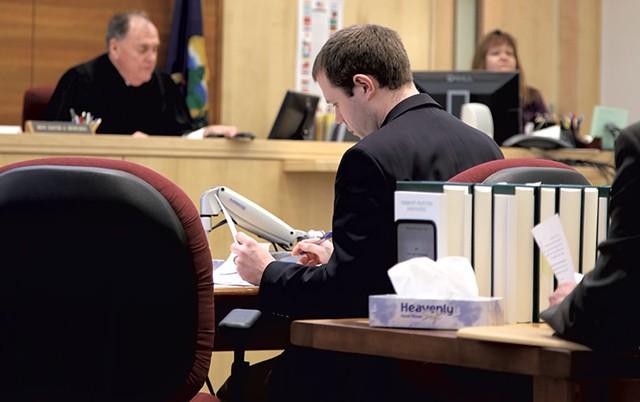 Deputy State's Attorney Alexander Burke and Judge David Howard - JANA SLEEMAN