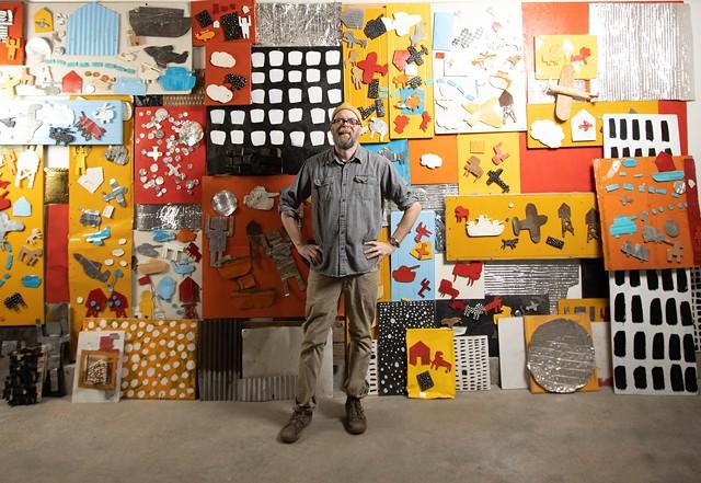 Matt Neckers with his Vermont Studio Center installation - COURTESY OF MATT NECKERS
