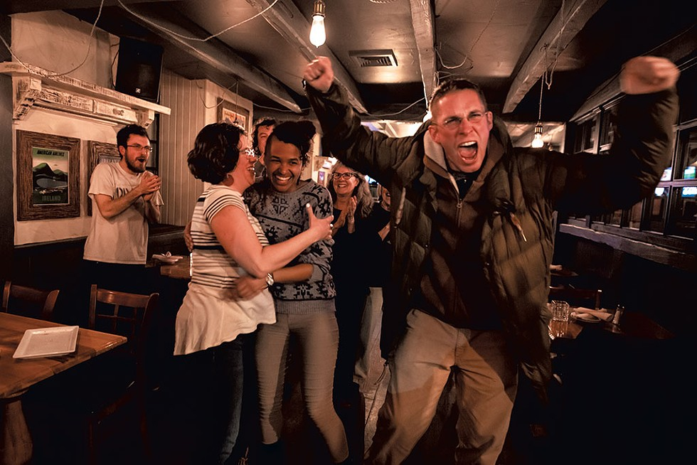 Max Tracy celebrating at a Progressive election night party in March 2020 - FILE: LUKE AWTRY