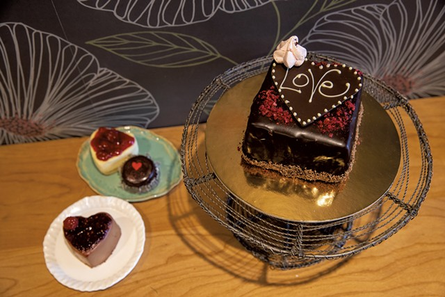 Mini pastries and chocolate-raspberry mousse cake for two at Mirabelles Bakery - JAMES BUCK