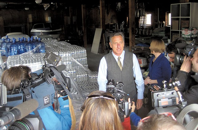 Gov. Peter Shumlin talking  to reporters about the water crisis in North Bennington - NANCY REMSEN