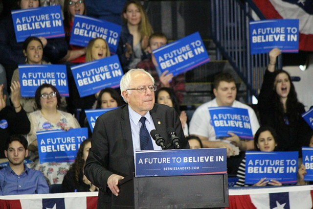 Sen. Bernie Sanders speaks Monday in Youngstown, Ohio. - PAUL HEINTZ