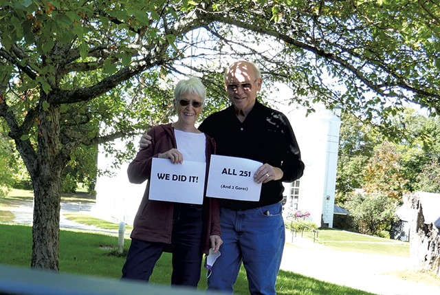 Pat and John Williams upon completing all 251 towns and two gores - COURTESY OF PAT AND JOHN WILLIAMS