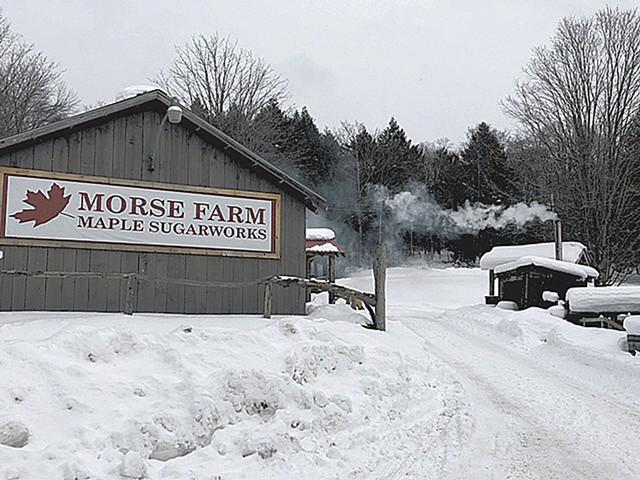 A snowy scene at Morse Farm Maple Sugarworks - JORDAN BARRY ©️ SEVEN DAYS