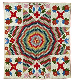 """""""Appliqué and Pieced Star of Bethlehem Quilt"""" by an unidentified Odawa maker - COURTESY OF SHELBURNE MUSEUM"""