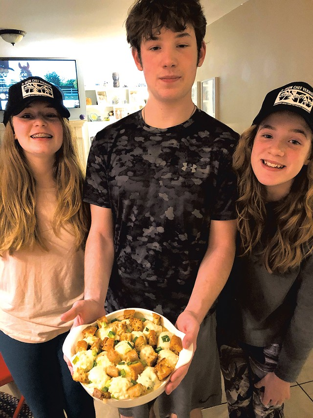 From left: Emilie, Andrew and Lily Bruneau with their root vegetable pot pie - COURTESY OF LAUREN BRUNEAU