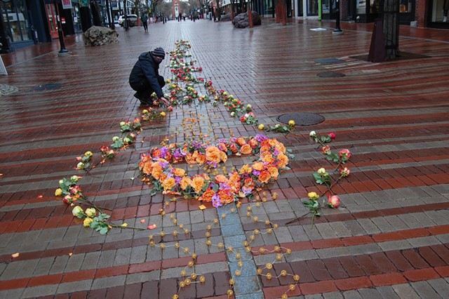The Floral Heart Project display on Church Street - MATTHEW ROY ©️ SEVEN DAYS