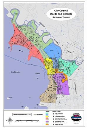 A map of Burlington's ward and districts - CITY OF BURLINGTON