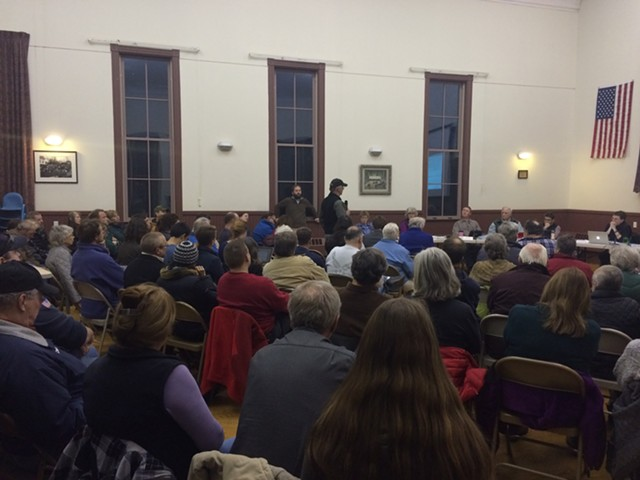 Residents criticize a deal with Vermont Gas during the Hinesburg Selectboard meeting Monday night. - ALICIA FREESE
