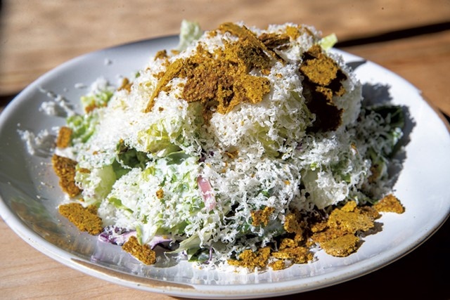Ranch and romaine salad with carrot pepita crunch and cave-aged cheddar - JAMES BUCK
