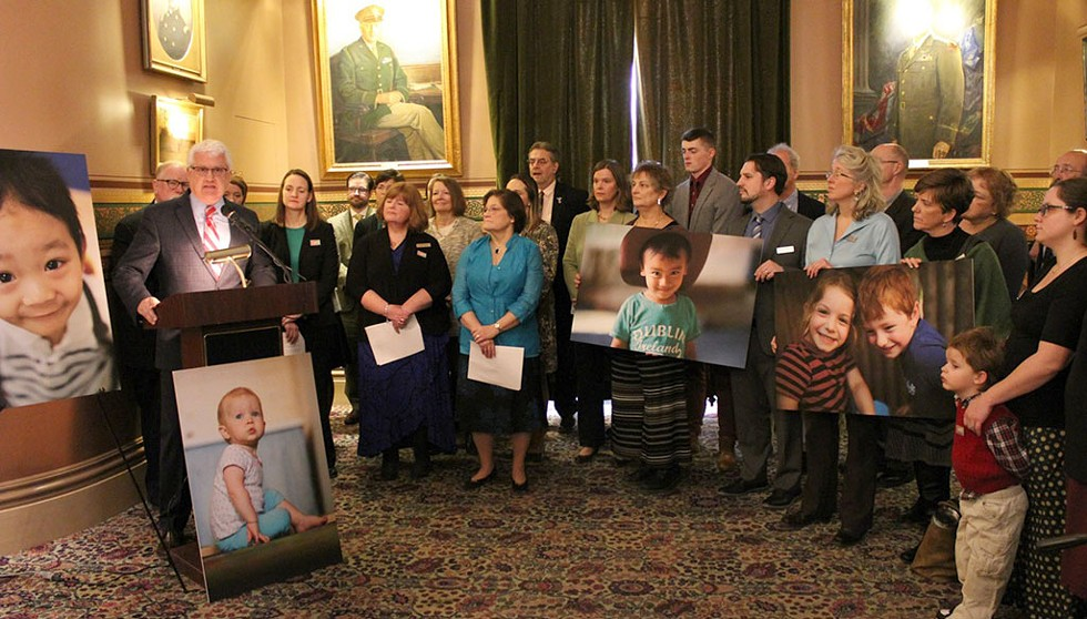 Michael Seaver speaking in support of increased investments in child care at a 2018 Statehouse press conference - COURTESY OF LET'S GROW KIDS