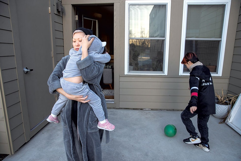 Bree LeMay and her two kids, Imaan, 3, and Niah, 10 - JAMES BUCK