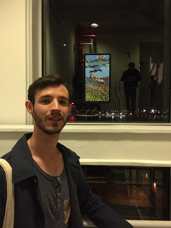 Charlie Hudson with his painting at the Whitney Museum - CHARLIE HUDSON