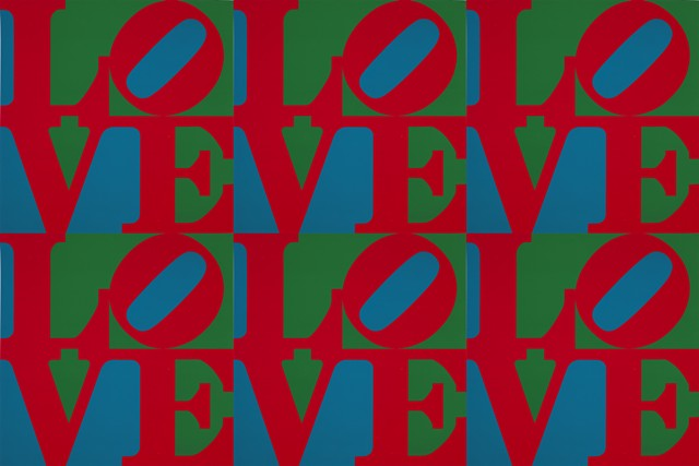 """LOVE,"" screenprint by Robert Indiana (multiplied by 6) - COURTESY OF FLEMING MUSEUM"
