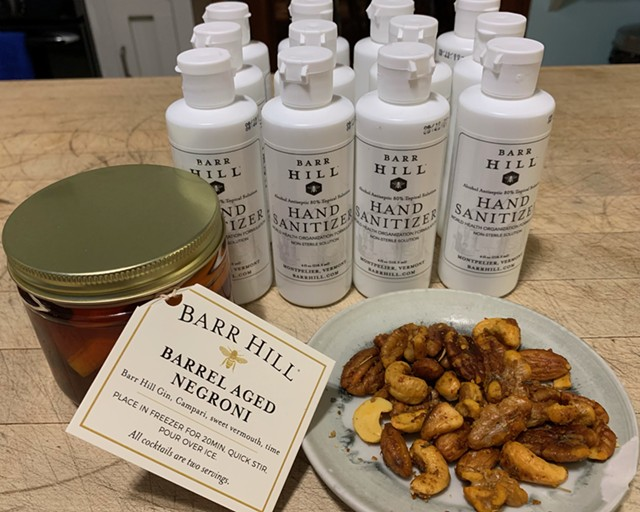 Barr Hill Negroni, hand sanitizer and mixed nuts - SOPHIE X. POLLAK ©️ SEVEN DAYS